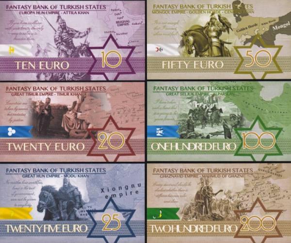 Turkish States (Turkické štáty) 10-200 Euro polymer UNC