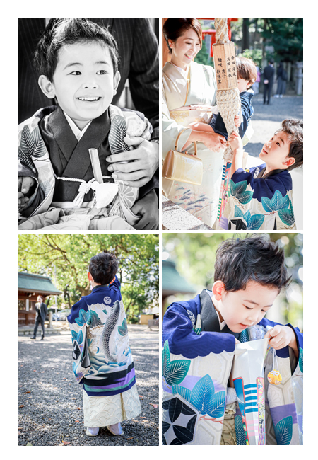 5才の男の子の七五三 衣装は青の羽織袴