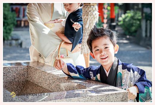 七五三 5才の男の子 衣装はブルーの羽織袴