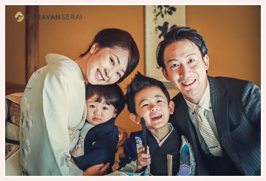 七五三 和室で前撮り 年賀状用の家族写真
