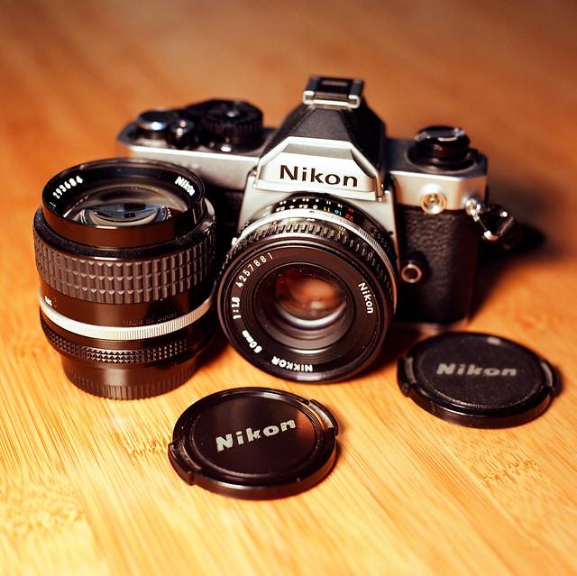 Nikon FM2n with two AI-S lenses