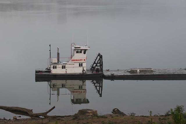 Workboat on a foggy Ohio River