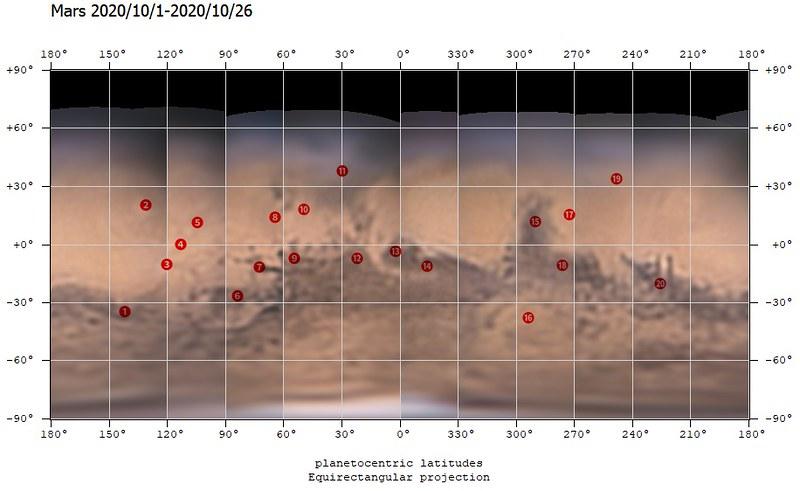 火星地図 (2020/10/1-2020/10/26) (0º中心・マーカー付き)