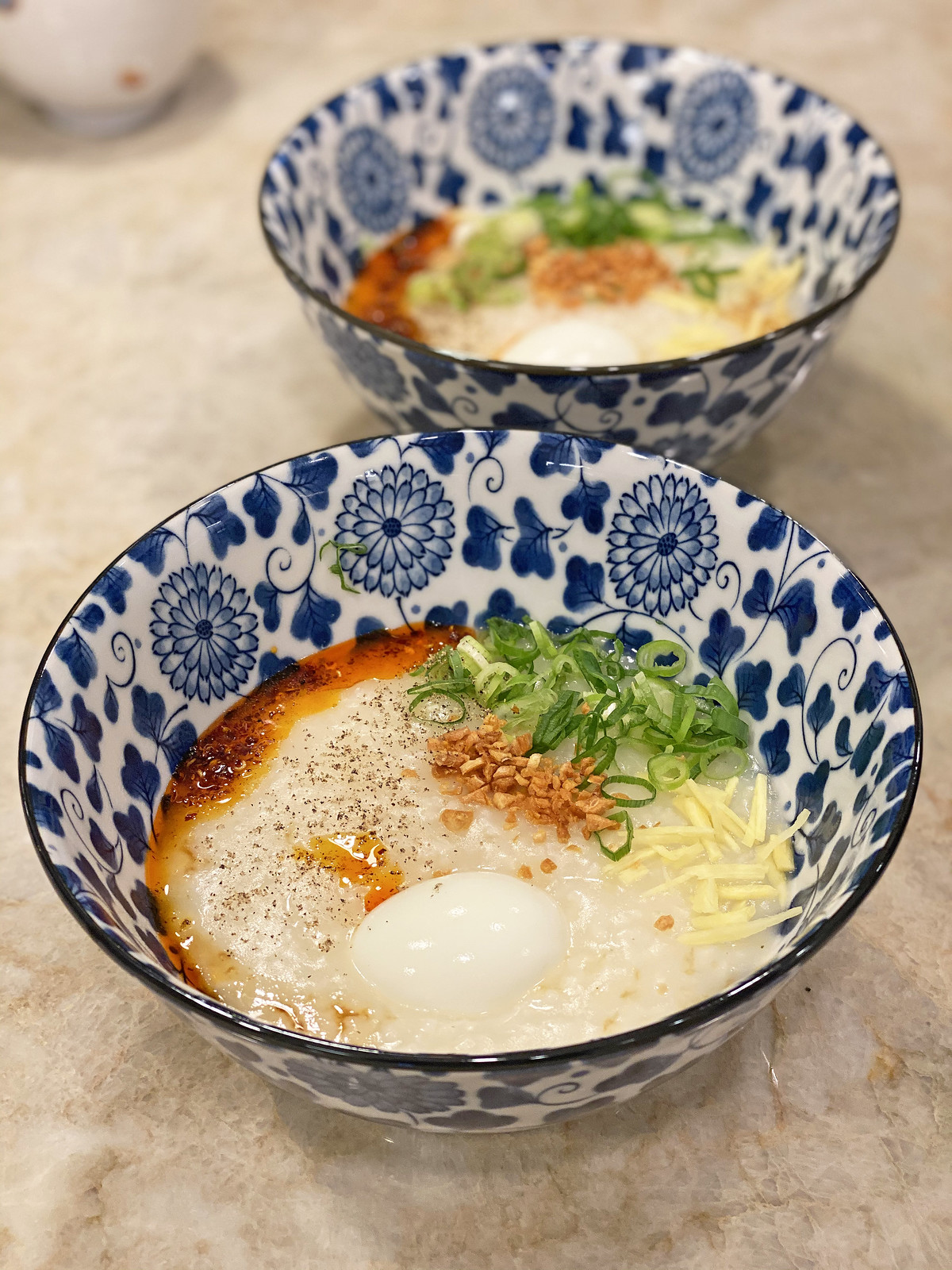 Congee with soft boiled egg