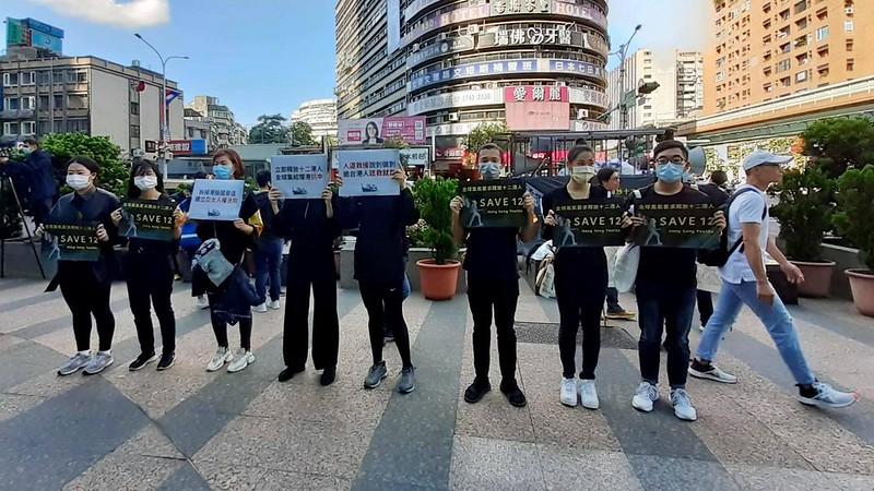 多個台灣公民團體,共同聲援釋放十二港人。圖/馮輝倫攝