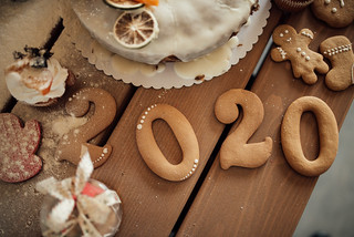 2020 cookie Christmas decorations from above. Corona year concept.