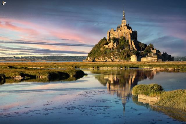 Le Mont-Saint-Michel in golden light