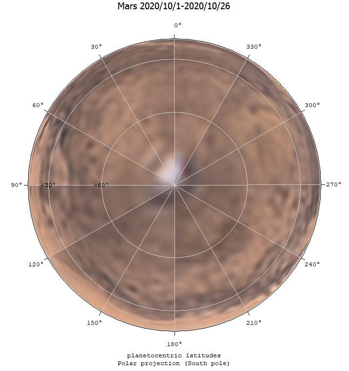 火星地図 (2020/10/1-2020/10/26) (極射影・南極)