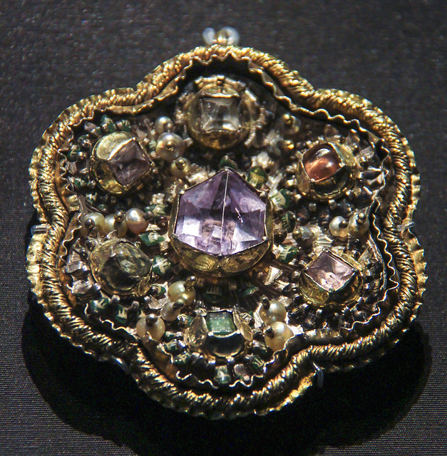 Pendant (Heftel), Romania, transylvania, about 1680, gilded silver set with crystal and glass