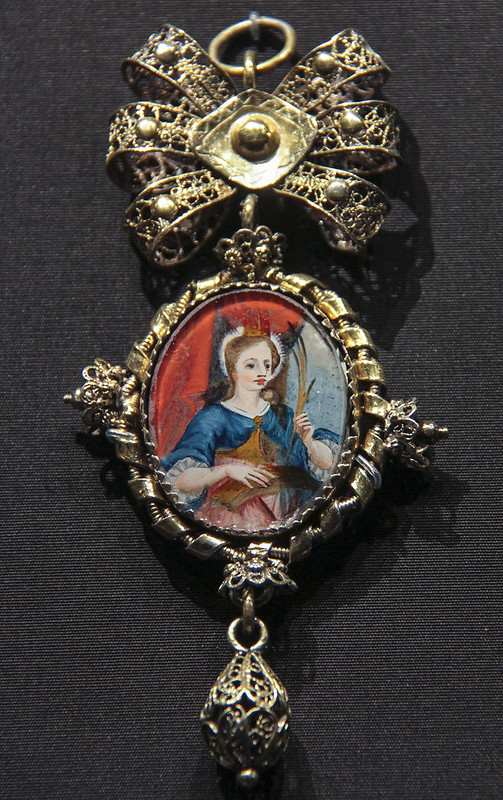 Pendant (Trachtendeli), Switzerland, Solothurn, 1700-1800, gilded silver filigree with glass from Sursee