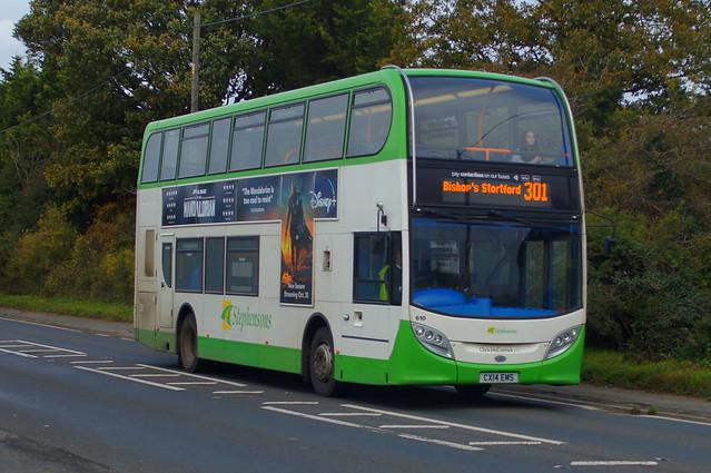 Venturer: Stephensons of Essex (ex Express Motors) Scania N280UD/ADL Enviro400 CX14EMS (610) B1383 Ugley Green 28/10/20