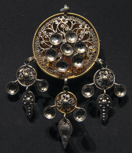 Pendant(bruredalar or agnus Dei), Norway, 1800-1900, partially gilded silver, worn by brides as part of their wedding jewellery