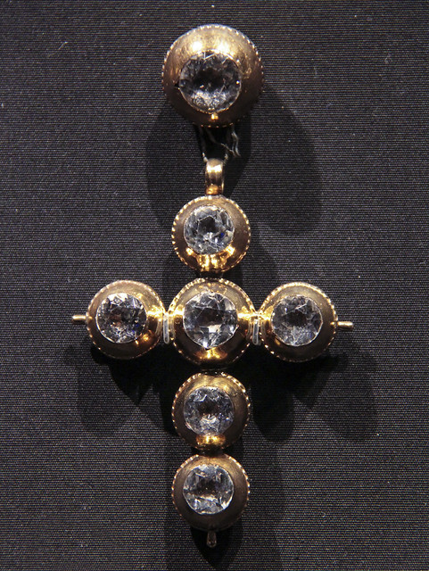 Cross and slide (coulant), France, Normandy, about 1800, gold and rock crystal