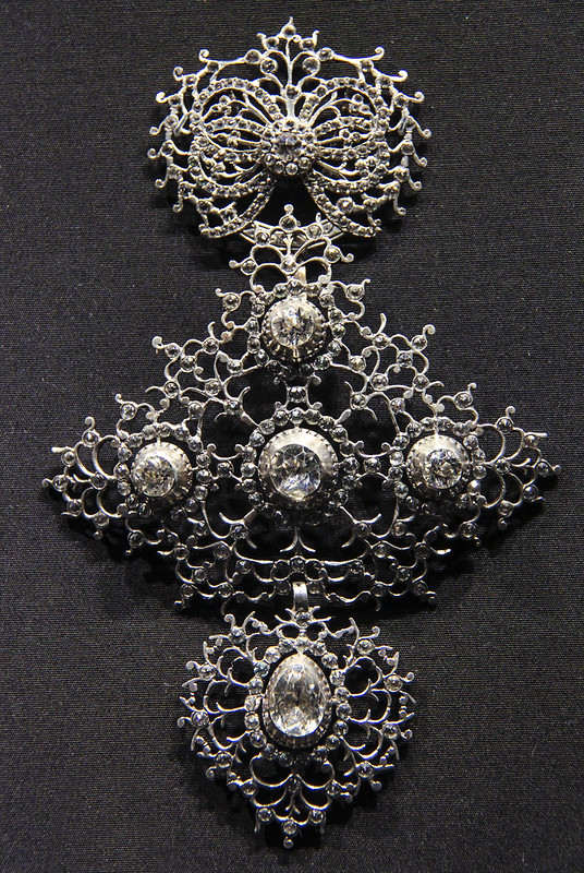 Cross (croix de Saint-Lo or quadrille) and slide (coulant), France, Normandy, 1809-19, silver and rock crystal