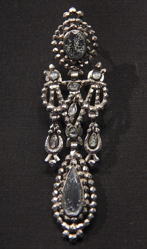 Earrings, Spain, Barcelona, 1865-70, silver with mirrored glass