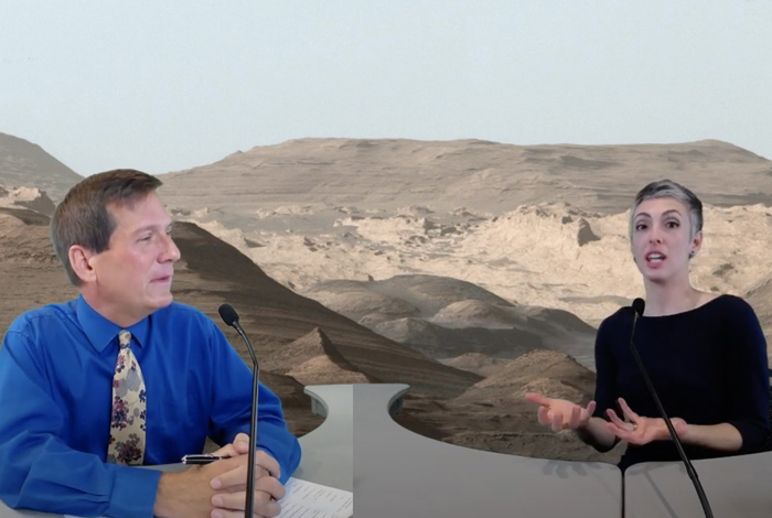 Jeff Favorite and Nina Lanza discussing the search for past life on Mars.