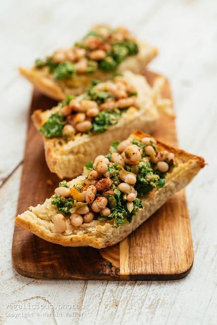 Kale Pesto with White Bean Bruschetta