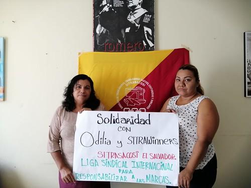 El Salvador: El liderazgo de SITRASACOSI, incluida la presidenta de la Liga, Estela R., se solidariza con Odilia y SITRAWinners en Guatemala