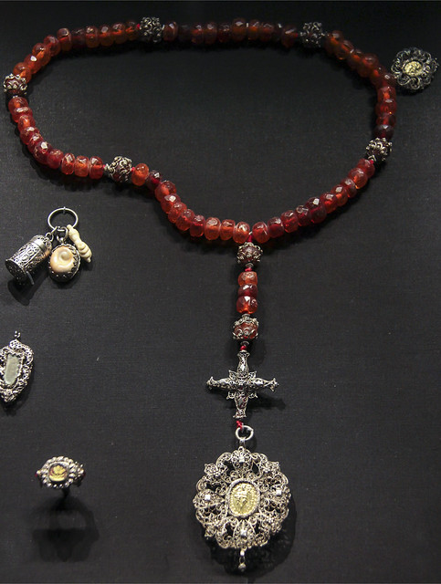 Rosary, Germany, Schwabisch Gmund, 1800-40, silver filigree with amber beads, Medallion with the Virgin of Altotting and Dorfen, medallion with the Virgin of dorfen