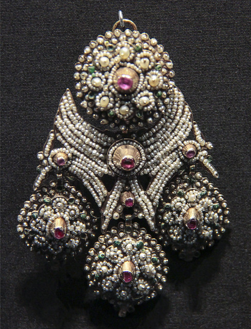 Earrings, Italy, 1800-60, gold with seed pearls, pink sapphires over red foil and green wax, worn in Pozzuoli in Campaniaac