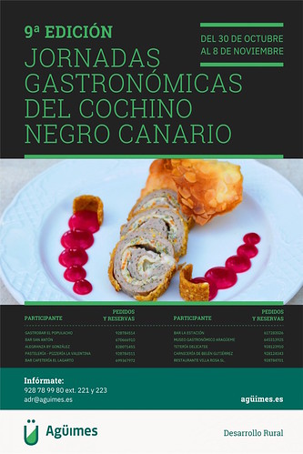 Cartel promocional de las 9ª Jornadas Gastronómicas del Cochino Negro Canario de Agüimes
