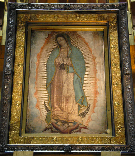 The original cloak that was imprinted with the Virgin of Guadalupe on December 12,1531 hangs in the Basilica of Guadalupe in Mexico City