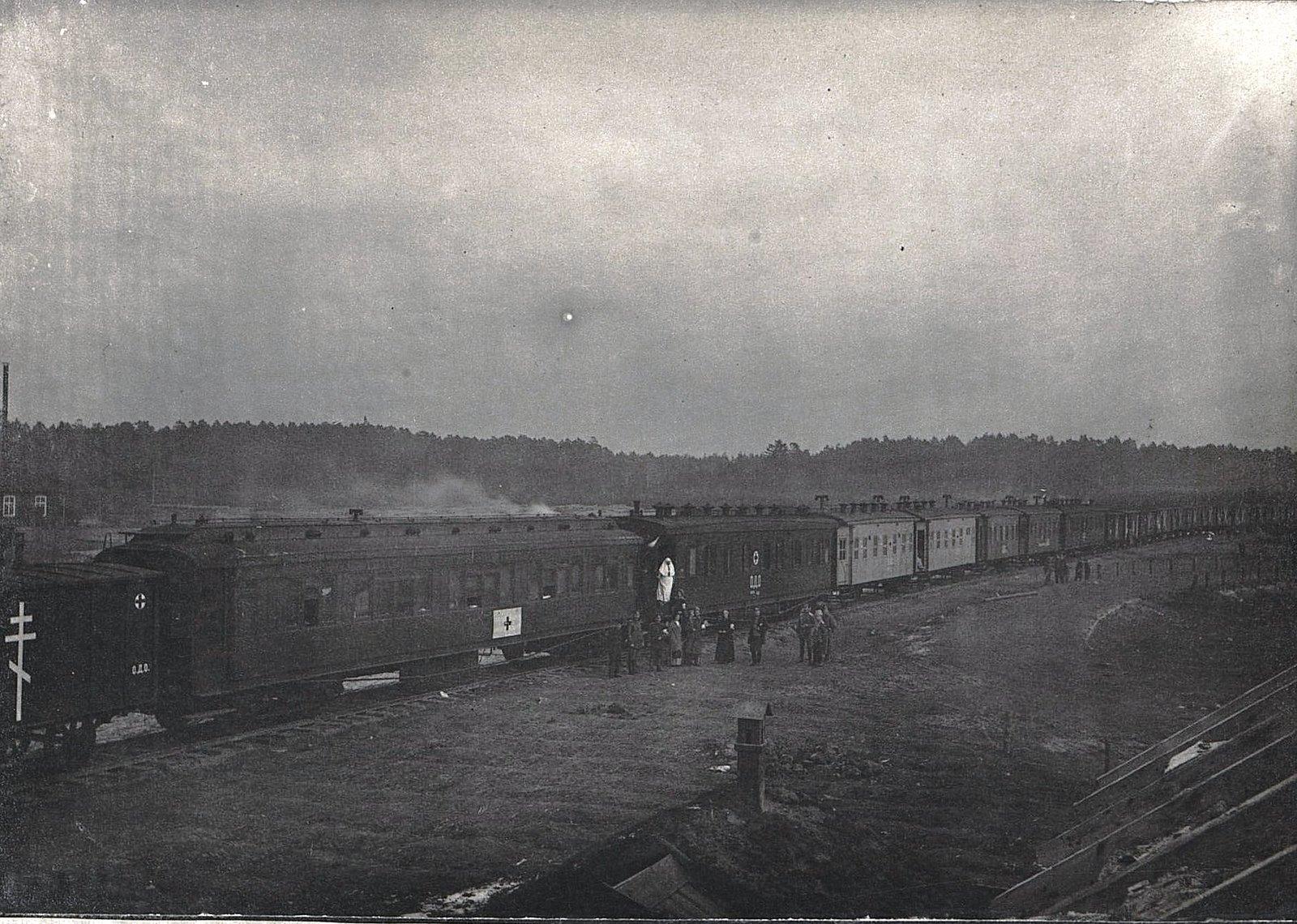 35. Санитарный поезд на станции Влощова, в тупике, построенном 2 ротой
