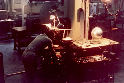 Dan Gorman working in mech. lab, Syracuse University, 1963
