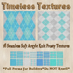 TT 16 Seamless Soft Argyle Knit Frosty Timeless Textures