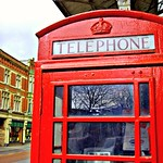 Iconic red telephone box in Preston