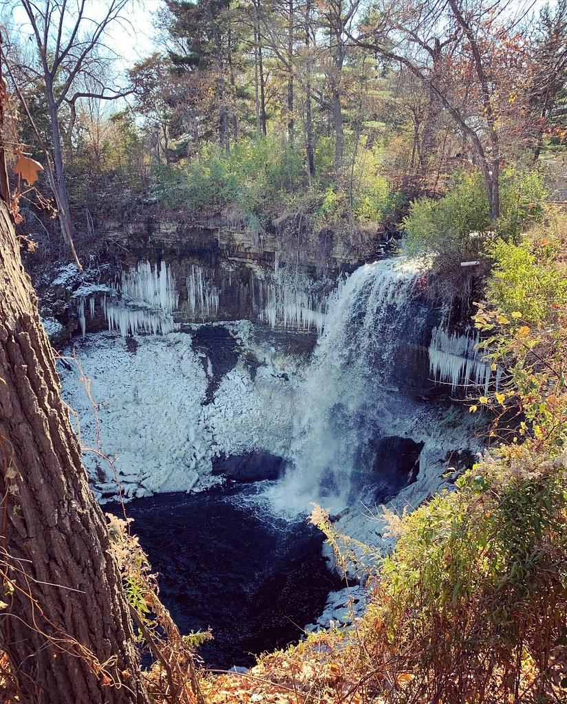 The Minnehaha Falls are already frosty