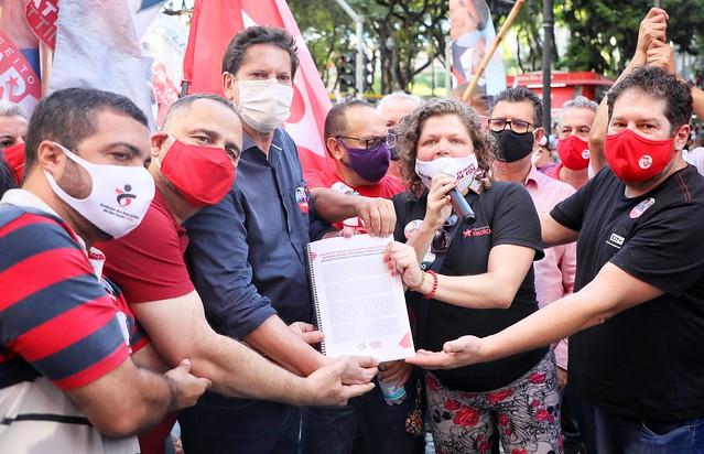 28.10 - Ato dos Servidores Públicos seguido de Manifesto dos Sindicalistas Centro de São Paulo Foto Filipe Araújo