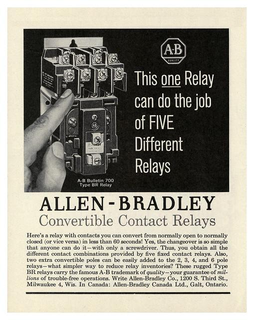 Allen-Bradley Convertible Contact Relays (1961)