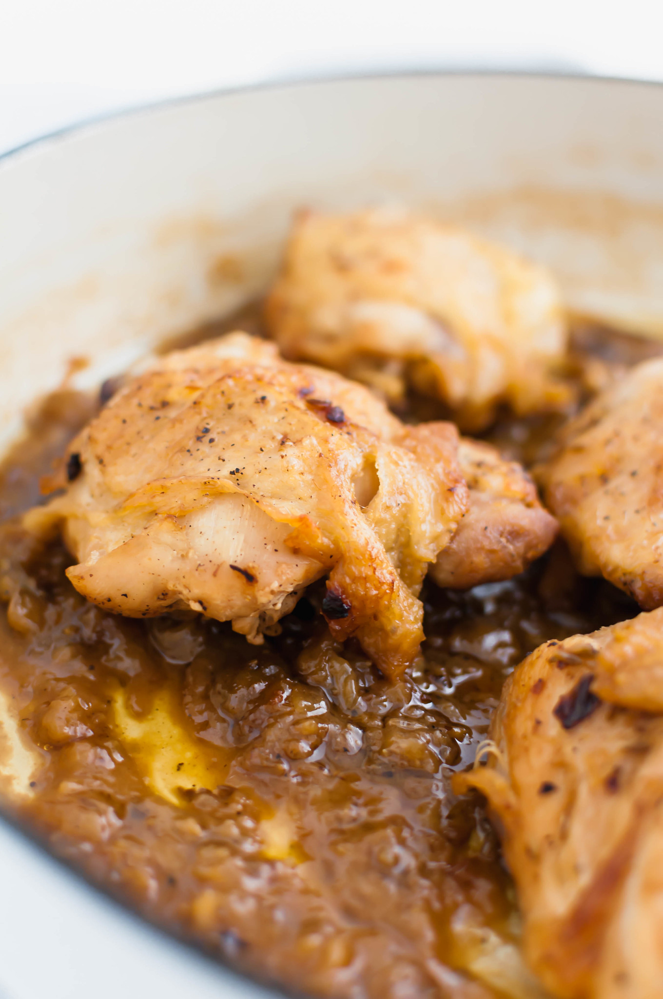 Hard Apple Cider Braised Chicken Thighs are a new fall favorite around here. Simmered in hard apple cider, chicken stock, onion and fennel seeds, this chicken is bursting with all the warm, hearty flavors of fall.