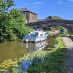 Boat and bridge on the canal at Preston