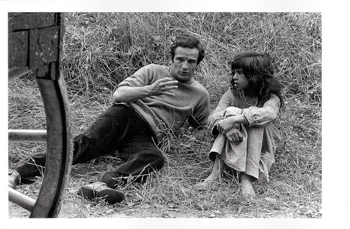 François Truffaut and Jean-Pierre Cargol at the set of L'Enfant sauvage (1969)