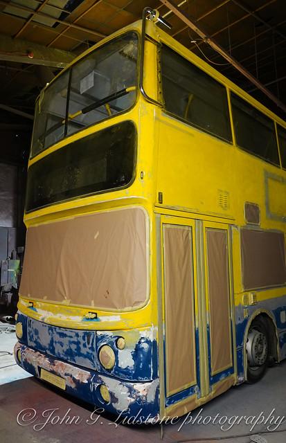 Keane Travel of Linford former Dublin Bus Volvo B7TL / ALX400 GRZ 1260 undergoing smart repaint into fleet livery at Marden Commercials of Benfleet