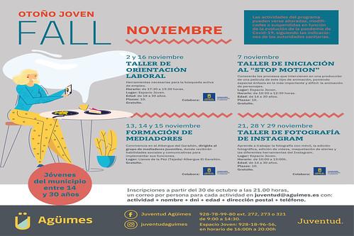 Cartel promocional de las actividades del mes de noviembre del Programa Otoño Joven de la Concejalía de Juventud del Ayuntamiento de Agüimes