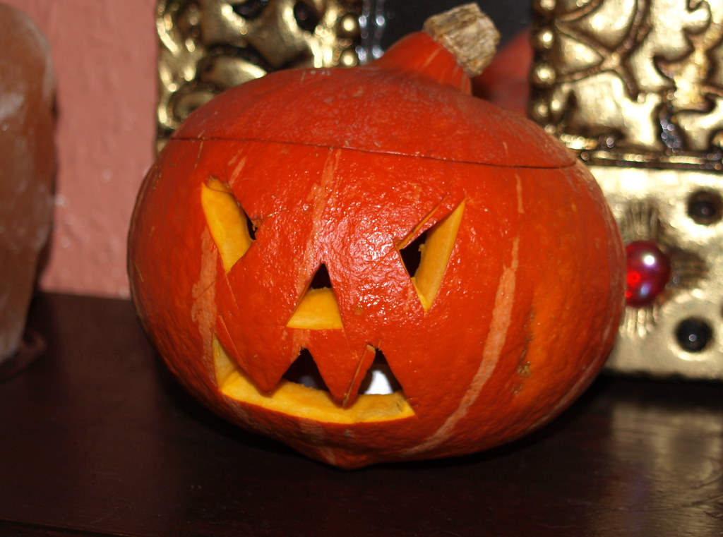 Homemade Halloween pumpkin and tealight