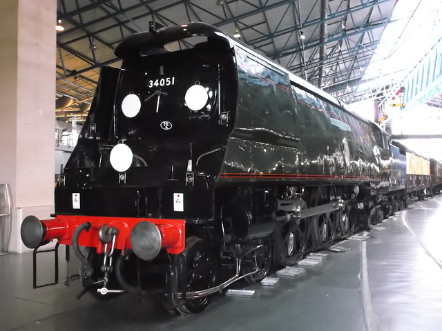 34051 'WINSTON CHURCHILL' pictured on display at the YORK NRM great hall on 19.4.15 (2)