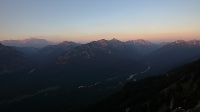 first light hitting the peaks