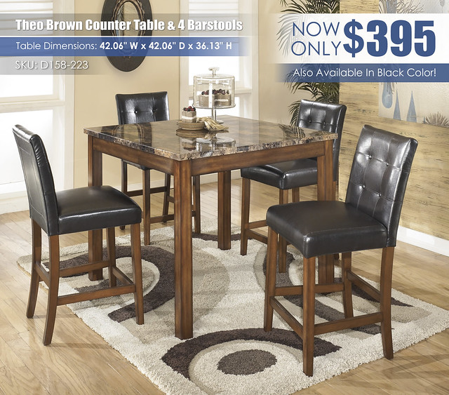 Theo Brown Counter Height Table Set_D158-233-SD