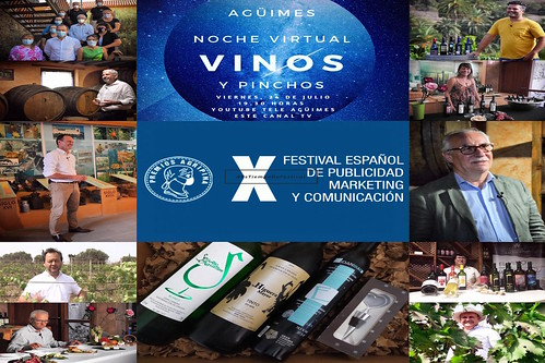 """Cartel promocional de la pieza """"Noche Virtual de Vinos y Pinchos"""" en los Premios Agripina"""