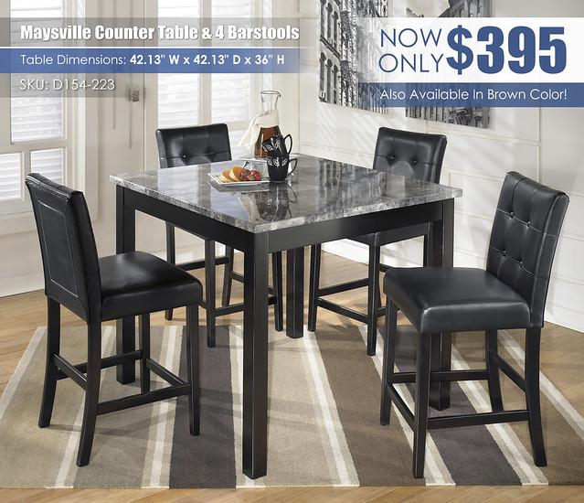 Maysville Black Counter Height Set_D154-223