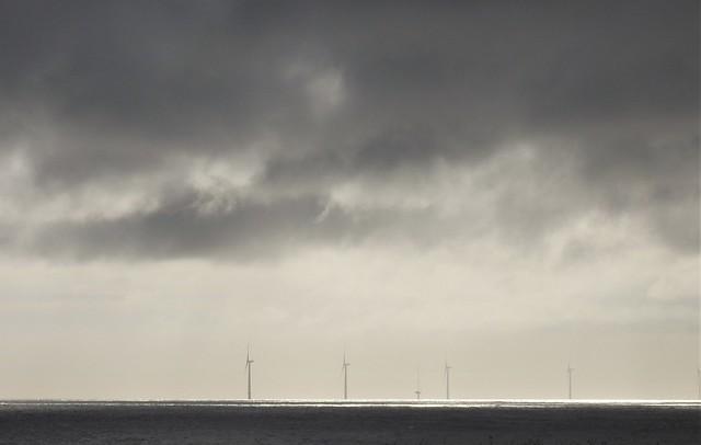 Monochrome Wind Turbines Off Blyth Beach