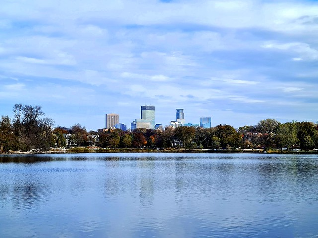 View of Downtown over Lake of Isles, Minneapolis, MN