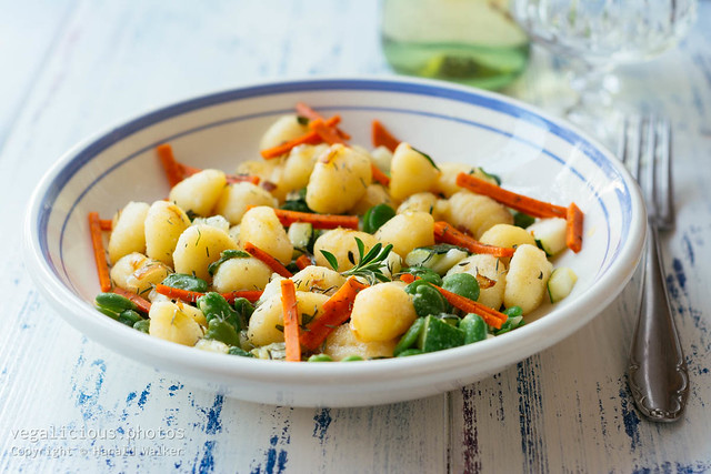 Gnocchi with Fava Beans, Zucchini and Vegan Deli Slices