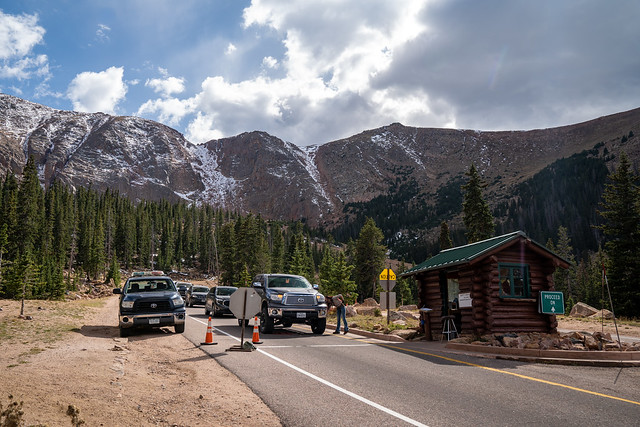 Colorado, USA - September 15, 2020: Brake check area for all vehicles driving down from the Pikes Peak summit, ensures safety on the steep mountain pass