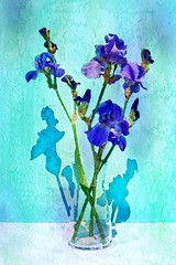 Vase of Purple Iris