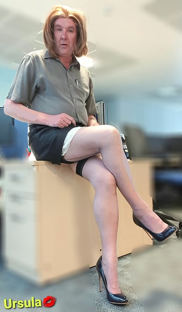 Short skirt, heels, stocking tops and a little peeking slip, what more could the boys need